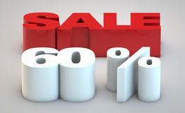 Sale - price reduction of 60. Shop price reduction concept for websites vector illustration