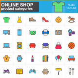 Shop product categories line icons set, filled outline vector symbol collection, linear style pictogram pack. Signs, logo illustra
