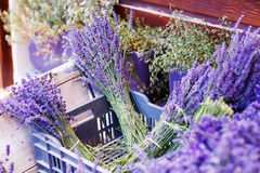 Shop in Provence decorated with lavender and vintage things. Royalty Free Stock Photography