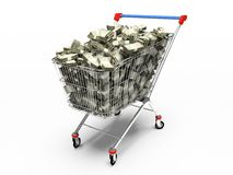 Shop pushcart with dollars. 3D rendering stock illustration