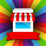 Shop and Red ribbon banner on rainbow background Stock Photo