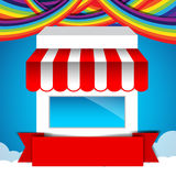Shop and Red ribbon banner on rainbow clound and sky background Royalty Free Stock Images