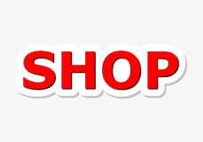 Shop Red Sign. Simple vector Royalty Free Stock Image