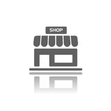 shop with reflection. Shop icon with reflection on a white background Royalty Free Stock Photo
