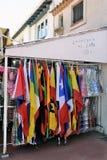 Shop at Saintes-Maries-de-la-Mer that sells flags Stock Photos