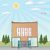 Shop Sale. The sun shines on a shop with a sale on a clear day in a fully scalable vector illustration royalty free illustration
