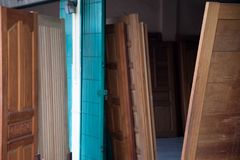 Shop for sale door they set up to show many doors and pattern for the customers. To choose and buy Stock Photo