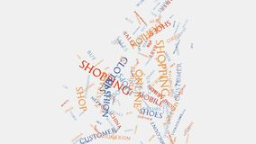 Shop sale retail consumer shopping wordcloud text typography. Shopping cart online sale modern fashion style retail shop consumer commerce word cloud text royalty free illustration
