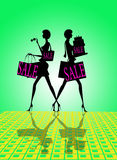 Shop sale sign. With two women shopping with bags. Green and yellow background Royalty Free Stock Photos