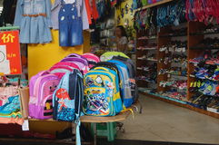 Shop for sale of student bags Royalty Free Stock Photography
