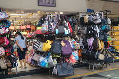 Shop for sale of student bags Royalty Free Stock Photo