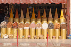 The shop with seasonings and spices in Marrakech Royalty Free Stock Photos
