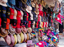 The shop sell traditional Nepalese handicrafts goods Stock Photos