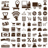Shop and seller icons on white Stock Image