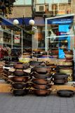 Shop selling ceramics, Pomorie, Bulgaria, July 27, 2014 Royalty Free Stock Photography