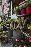 A shop selling flower in the market in Budapest stock photos