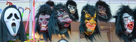 Halloween Masks on Sale. Shop Selling Halloween Masks. Spooky and Entertaining Masks stock photos