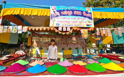 Shop selling Indian holi colors Stock Image
