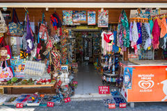 A shop selling souvenirs, clothing and knitwear. Royalty Free Stock Image