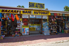 A shop selling souvenirs and currency exchange. Royalty Free Stock Photos