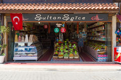 A shop selling sweets Turkish dried fruits and spices Stock Image