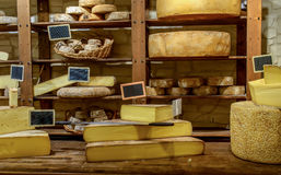 Shop selling various handmade cheeses Stock Images