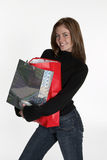 Shop Shop Shop. Woman with bundle of shopping bags Stock Image