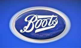 Shop sign for Boots the Chemist royalty free stock image