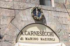 Shop sign A. Carnesecchi - Florence and Deruta Ceramics Stock Photo