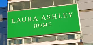 Shop sign for Laura Ashley home furnishings stock photo