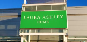 Shop sign for Laura Ashley home furnishings royalty free stock photo