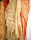Shop of silk fabrics in Tel Aviv. The photo is made in the market of silk fabrics in Tel Aviv royalty free stock image