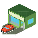 Shop. A simple shop, but in pixelart and always in . A car is parked in front of the shop Royalty Free Stock Photo