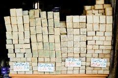 Shop som säljer tvål i staden av Aleppo, Syrien Arkivbild
