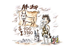 Shop of souvenirs in an antiquity. Comic water colour drawing: the prehistoric artist prepares his first illustration for examination on a photo bank Stock Images