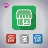 Shop/Speicher, gesetzte Ikonen des Supermarktgebäude-Vektors Flache Art Stockbild
