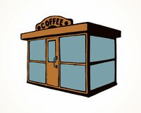 Shop stall. Vector drawing. Local cookies show booth box stand exterior on white space for text. Line black hand draw empty town glass rack cabin symbol. Small royalty free illustration