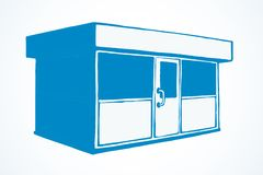 Shop stall. Vector drawing. Local show booth box stand exterior on white space for text. Blue line hand draw empty town glass rack cabin symbol. Small urban vector illustration