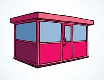 Shop stall. Vector drawing. Local show booth box stand exterior on white space for text. Red color hand draw empty town glass rack cabin symbol. Small urban royalty free illustration