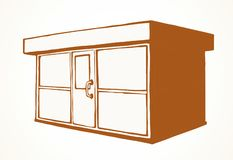 Shop stall. Vector drawing. Local show booth press box stand exterior on white space for text. Red line hand draw empty town glass rack cabin symbol. Small urban stock illustration
