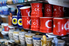 Shop stands with Turkish souvenirs Stock Images