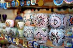 Shop stands with Turkish souvenirs. Shop stands with traditional Turkish souvenirs Stock Photo