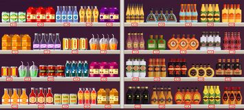 Showcase or stall with drinks and alcohol at shop. Shop or store with beverages, showcase with sweet drinks and alcohol. Vector interior of supermarket with Royalty Free Stock Photo