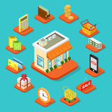 Shop store building shopping infographic icon flat 3d isometric. Shop store building infographic icon set flat 3d isometric style. Coin shopping cart bag royalty free stock photos