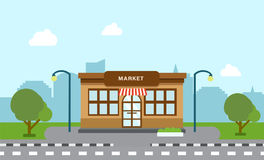 Shop store building on street with tree Royalty Free Stock Image