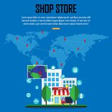 Shop store and e-commerce in around the world  and  white icons business, vector illustration. Shop store and e-commerce in around the world and white icons Royalty Free Stock Photos