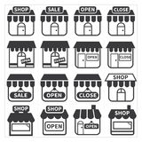 Shop and store icon. Set Royalty Free Stock Photo