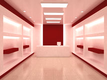Shop Store Interior. Red Shop Store Interior Background with empty shelves for your products. Cashier royalty free illustration