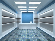 Shop Store Interior Background. Blue Shop Store Interior Background with empty shelves for your products. With Cashier Stock Image