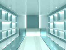 Shop interior. Blue empty modern shop shelves interior. Cashier Stock Photos